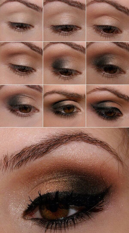 Gold And Black Smoked Out Cat Eye Makeup Bellashoot