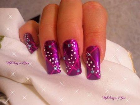 easy purple christmas new year's nail art design