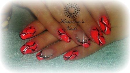 neon nails with simple art  rhinestones  nails  bellashoot