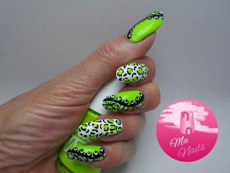 Black White And Neon Green Nails Nails Bellashoot