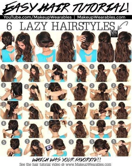 6 Easy Lazy Hairstyles Tutorial Diy Bellashoot