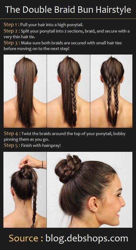 Double Braid Bun Hair Tutorial